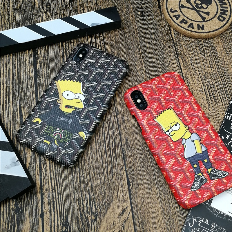 best website 0bd59 80d3c Cute Fashion cartoon boy phone cover case for iphone X XS MAX XR 10 8 7 6  6S plus cases hard luxury leather French brand coque
